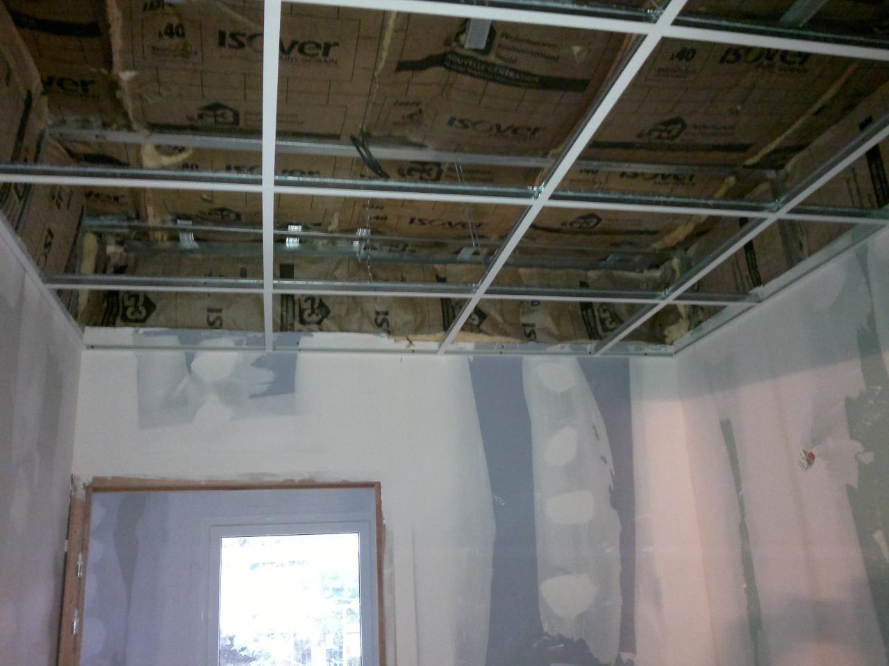 chantier en faux plafonds et en bandes